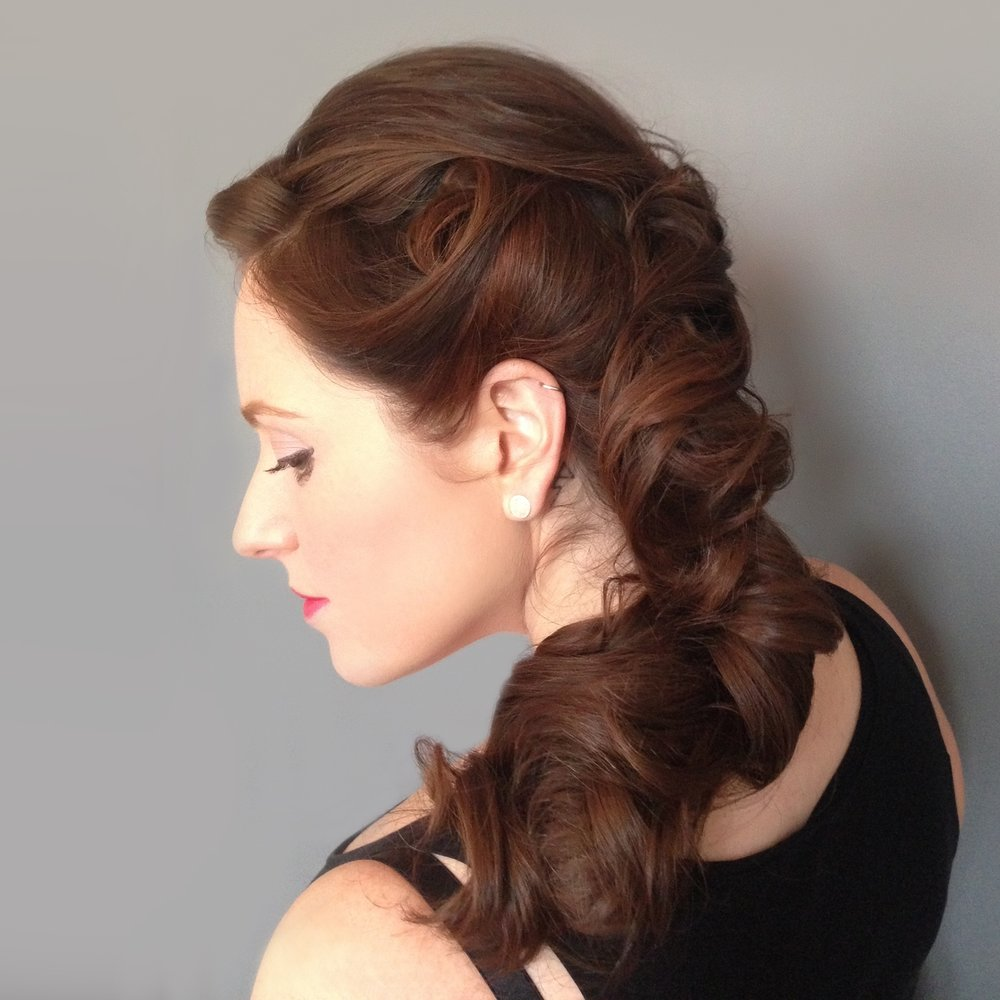 Updo for long brunette hair Davines