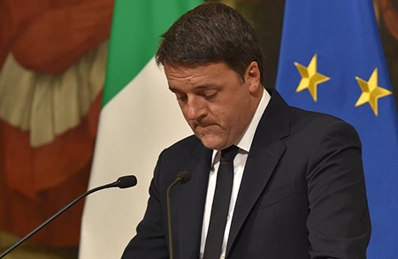 Photo: Getty Images, Italian Prime Minister Matteo Renzi announced his resignation.