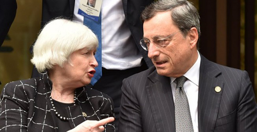 The Fed's Janet Yellen and ECB President Mario Draghi will gather for Jackson Hole economic symposium.   Image from The Cable: www.thecable.ng