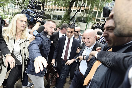 Luigi Di Maio, the leader of Italy's Five-Star Movement, arriving for talks with the Lega party over forming a government. Photograph: Flavio Lo Scalzo/EPA