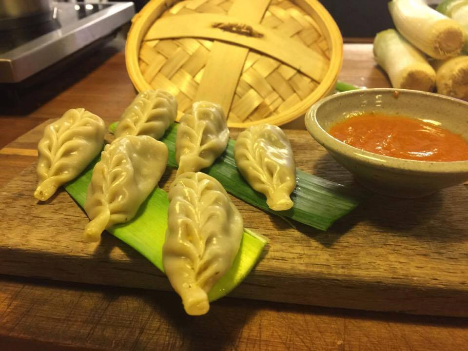 Steamed vegan dumplings at XCHC