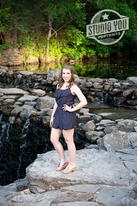 PESH senior girl by waterfall