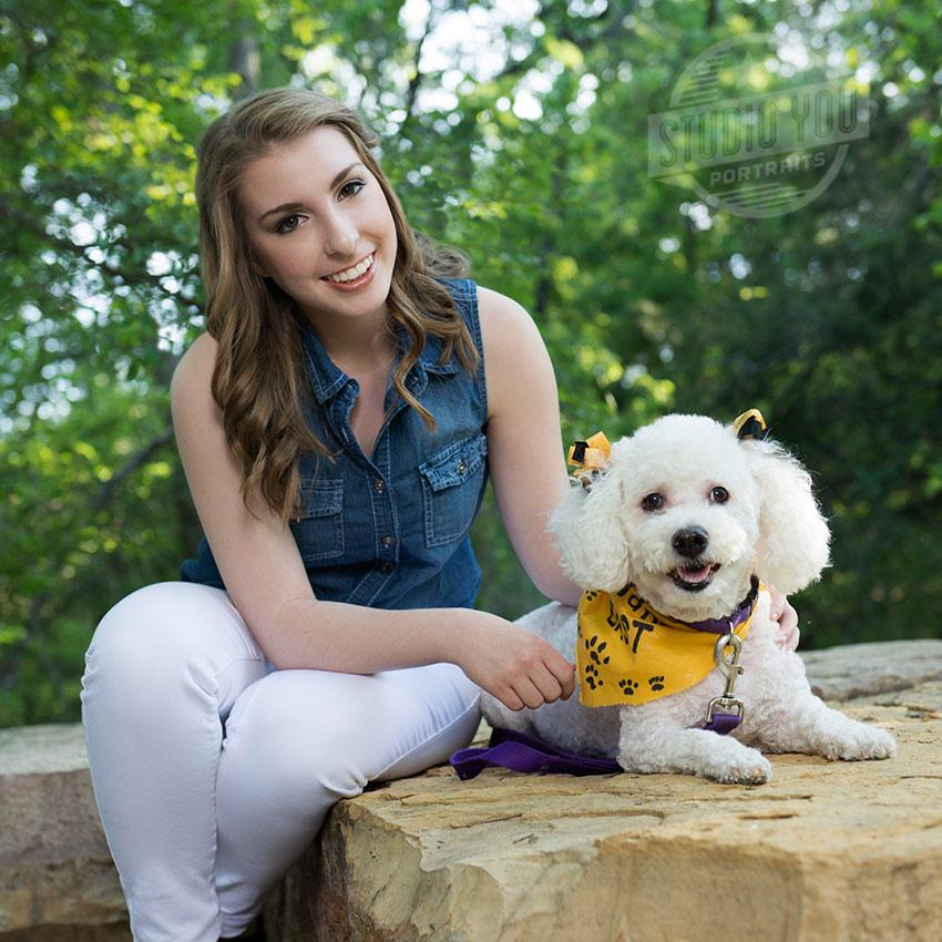 PESH senior photography girl with dog