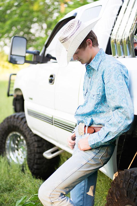 senior boy with truck