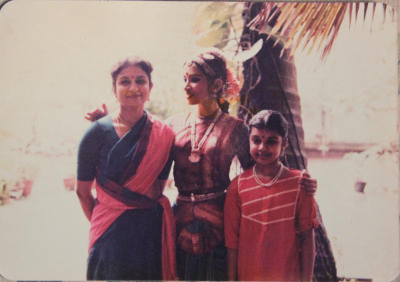 Ranee Ramaswamy, Alarmél Valli, and Aparna Ramaswamy post-performance in Chennai, India