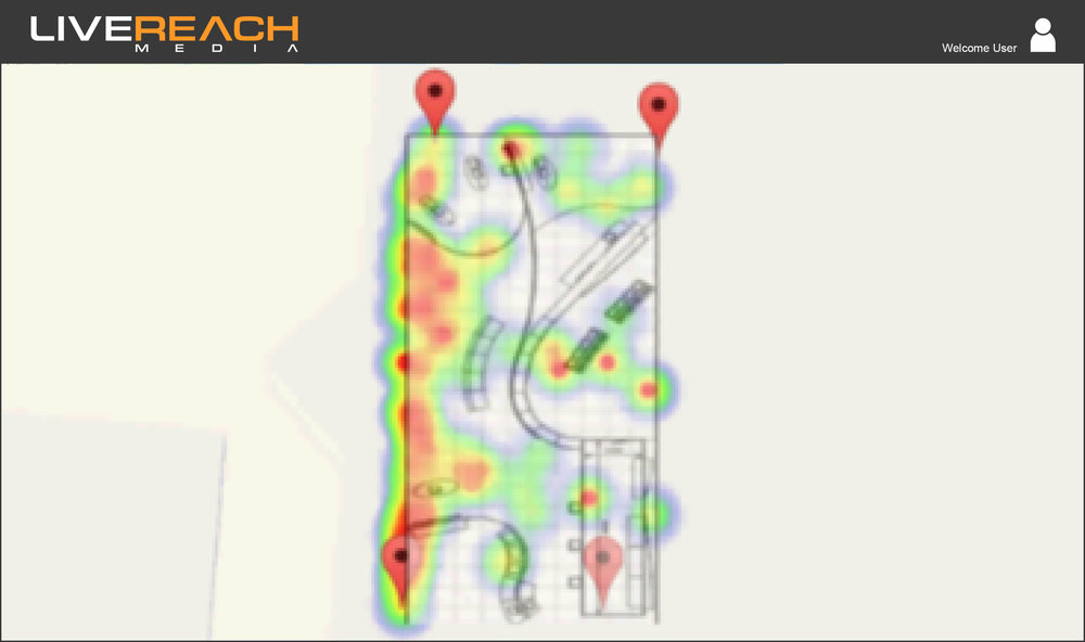 Visualize Your Audience - Visualize your audience density and movement patterns with LiveReach Media's heatmapping technology.