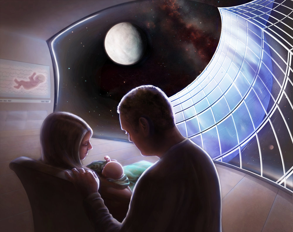 Pioneers of the Cosmos - Adrianna Allen's illustration depicting future human space exploration and settlement was chosen as the Grand Prize Winnerof the National Space Society's 2016 Roadmap to Space Settlement Art Contest and currently appears in this Spring's adAstra magazine!Check it out at:www.nss.org