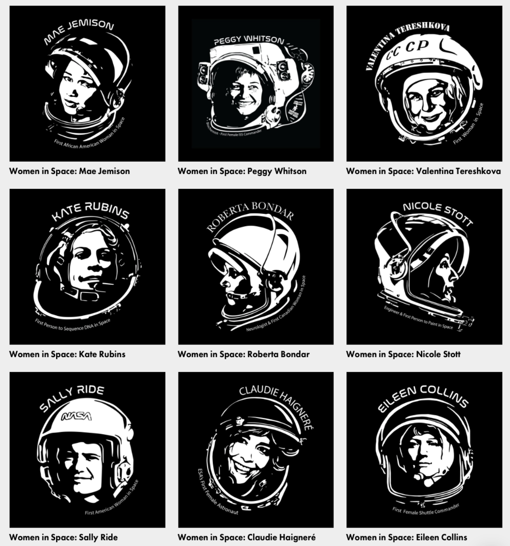 New Threadless and Redbubble Designs!  - Show your support for science and space exploration by checking out our new Women in Space designs available on T-Shirts, stickers, mugs and more.Let's build a bright future together! 👩‍🚀💪🚀