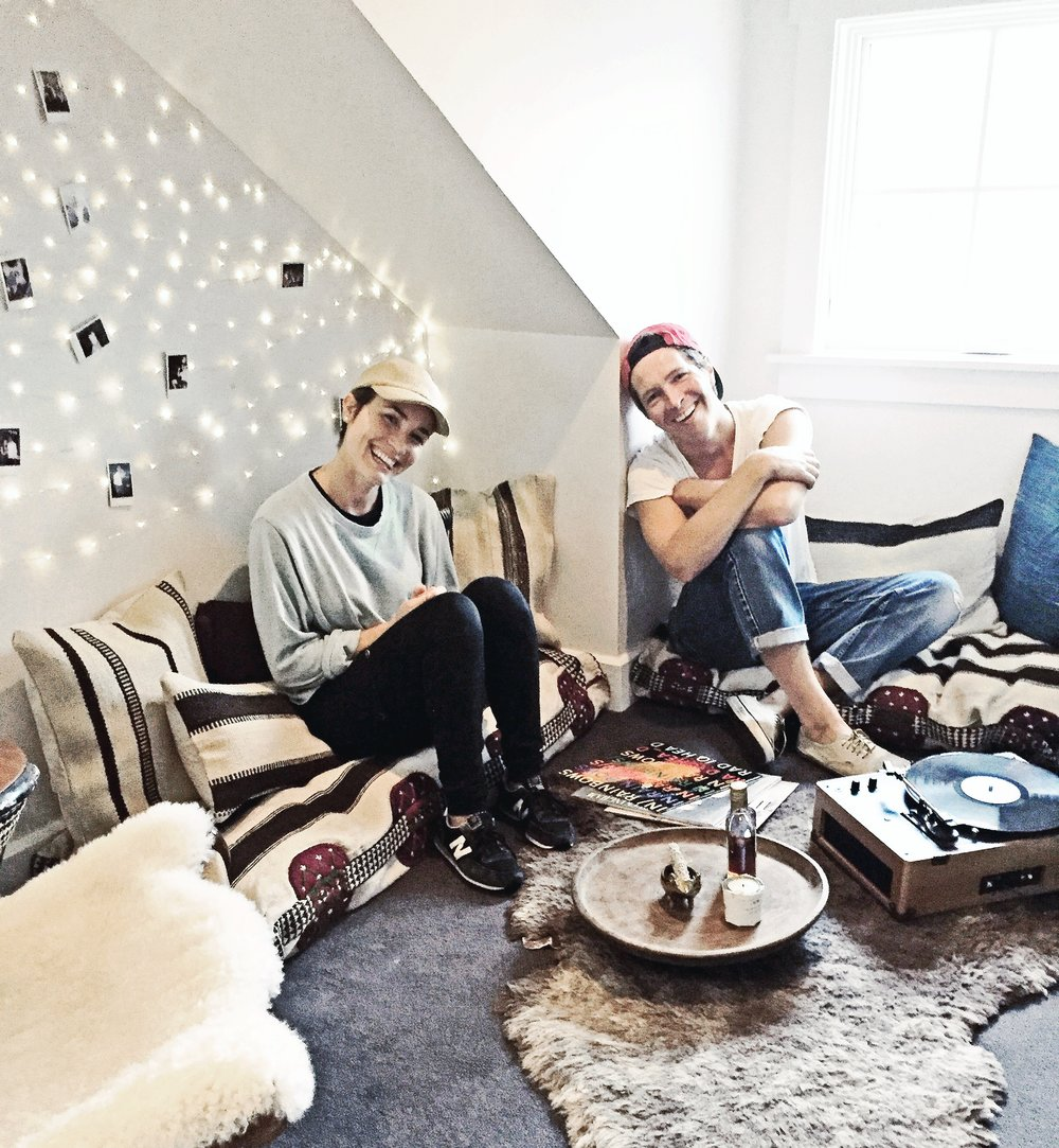 Interior stylist, Carly Ripp, and homeower, Matt Wertz, enjoy the finished loft.