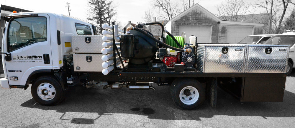 Our latest truck - a custom built vacuum system for premium pond maintenance services