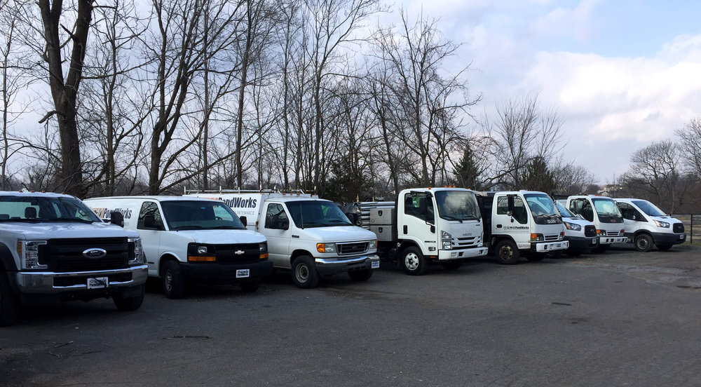 Most of the trucks lined up and ready for another day building, maintaining and servicing water features