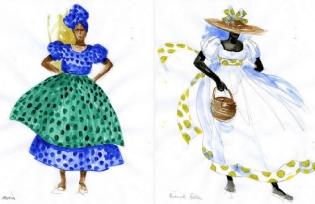 """Porgy and Bess"" costumes sketches by Jonathan Green include, from left, Maria, owner of the cook shop, and one of the beach folk."