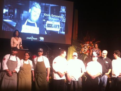 Some of the 34 chefs who prepared signature dishes from their restaurants for the evening take their bow.