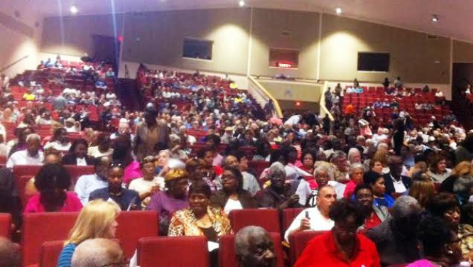 Audience at CAJM's Nehemiah Action didn't quite fill all  the seats in the expansive sanctuary of Mount Moriah Missionary Baptist Church in North Charleston.