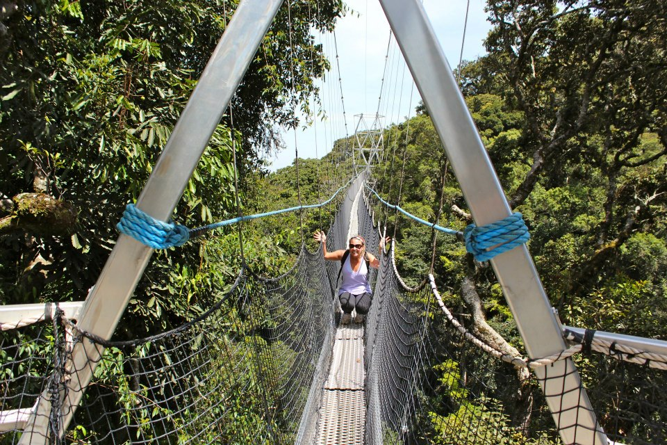 Hanging out on a suspension bridge in Nyungwe, one of Rwanda's national parks.