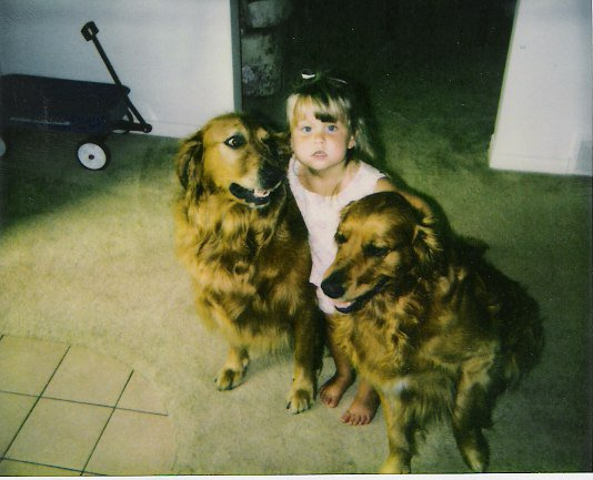 My golden retrievers (Bo & Elvis) and me.