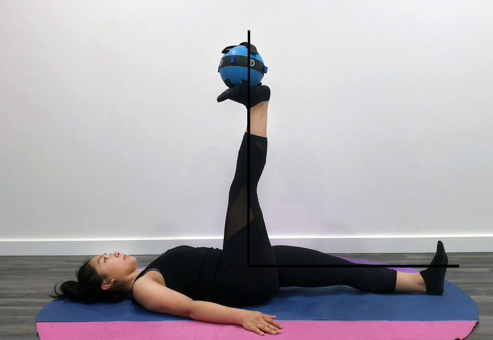 In this exercise, we can see how Yvonne is able to completely straighten her leg and raise it up to a 90 degree angle with her hip and other leg. In some exercises, reaching a full 90 degree angle may be an end goal however we can still practice fully straightening out our leg which will help us to improve hip mobility.