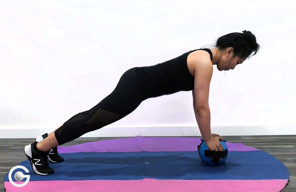 Balancing on a Gravity Ball strengthens your core even more than a regular plank because your core is needed to help to stabilize you and prevent you from falling over.