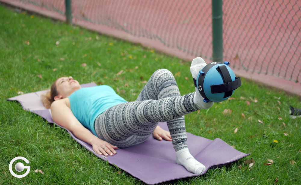 We recommend starting off with a blue 5 lbs Gravity Ball for home exercise or for exercises that involve using weight on one side of the body at at time, such as Pilates and yoga.