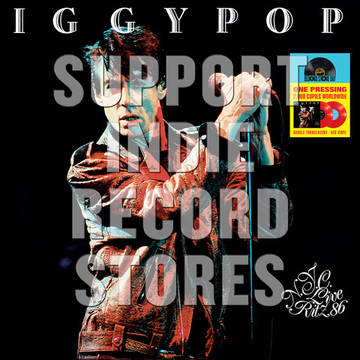 """Iggy Pop """"Live at the Ritz 1986""""   Ritz, NYC 1986   Color double vinyl with labels, printed inner sleeves, gatefold cardboard jacket with 2 pockets and LP marketing folder (aka an obi) with RSD logo."""