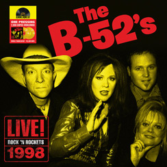 """The B-52's""""Rock 'N Rockets Live""""   Pleasure Island Orlando Florida for the Big Band Radio Broadcast   All orginal band memebers   Sound quality is outstanding   Color double vinyl with labels, printed inner sleeves, gatefold cardboard jacket with 2 pockets and LP marketing folder (aka an obi) with RSD logo."""
