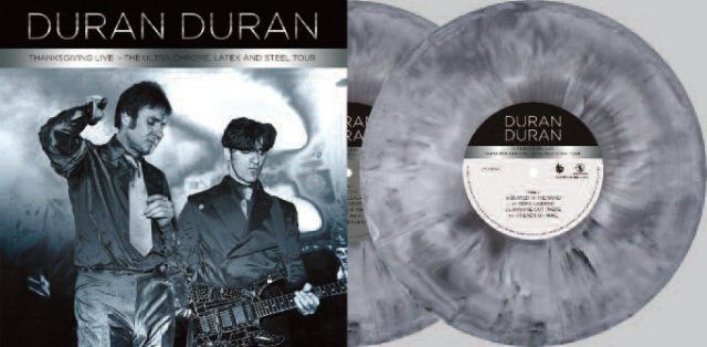 """Duran Duran """"Thanksgiving Live""""   Thanksgiving Day, 11/27/97 in Pleasure Island Orlando Florida for the Big Band Radio Broadcast   Sound quality is outstanding   Color double vinyl with labels, printed inner sleeves, gatefold cardboard jacket with 2 pockets and LP marketing folder (aka an obi) with RSD logo."""