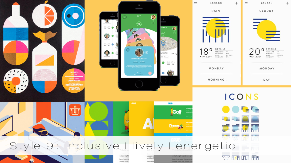 Out of the ordinary, lively and inclusive color palettes different type of card that draws the people into the app.