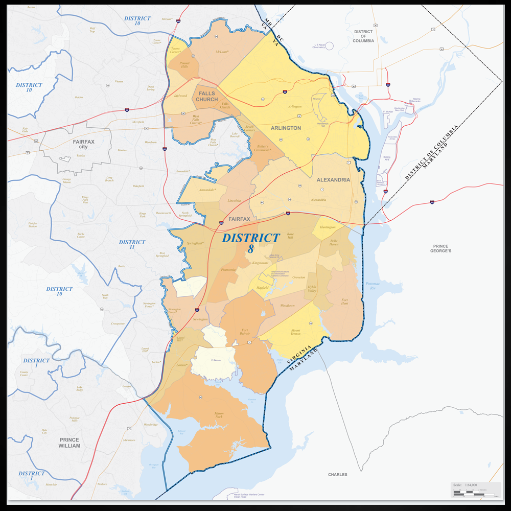 The 8th Congressional District includes Arlington, Alexandria, Falls Church, and Fairfax.