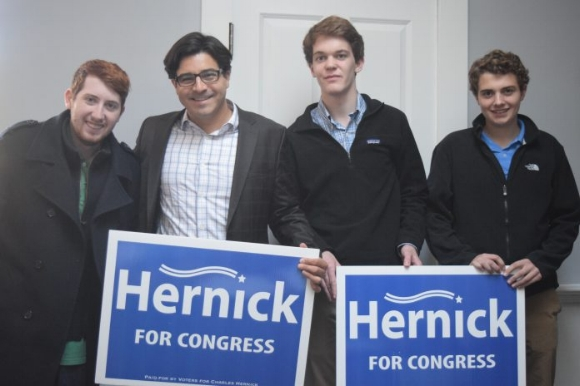 Hernick and Volunteers at Campaign Headquarters