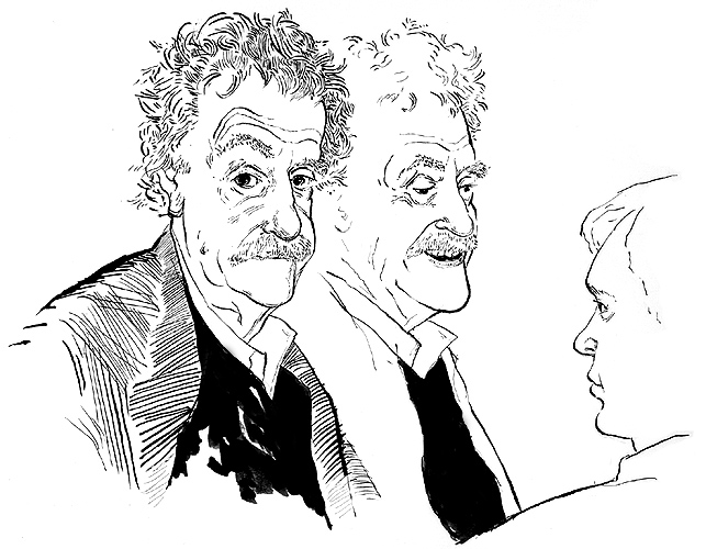 <html><head></head><body><font size=2><I>Live Sketch / Kurt Vonnegut</I><br>The New Yorker, 1996</br></font></body></html>