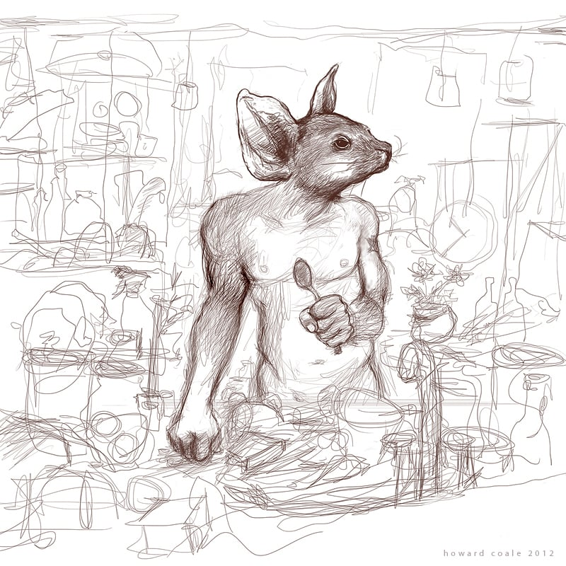 Self-Portrait as a Wombat Washing Dishes on a Hot Day