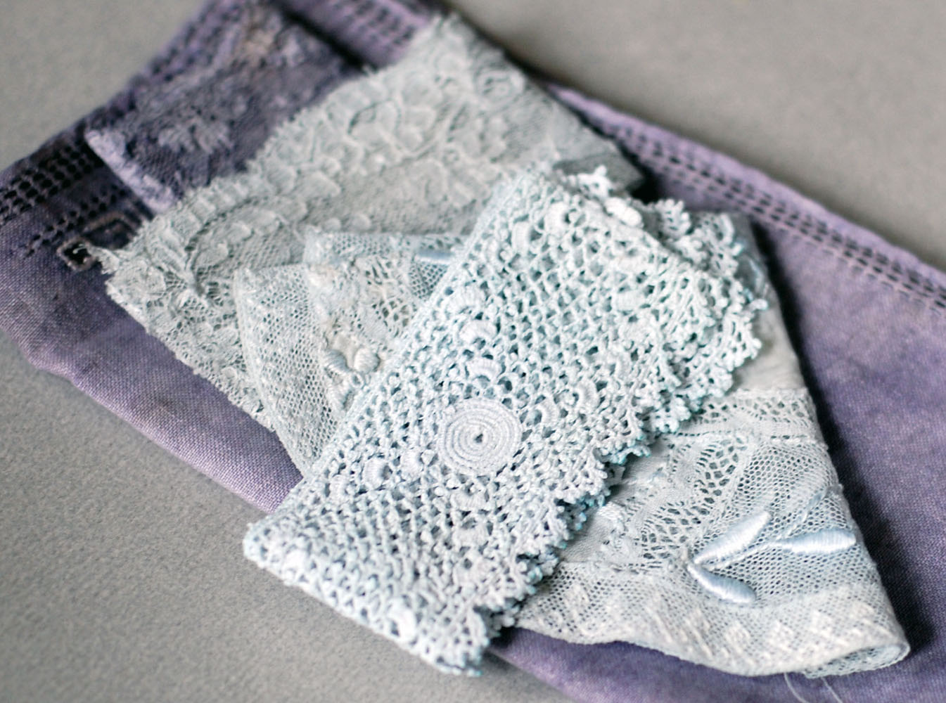 naturally dyed vintage lace
