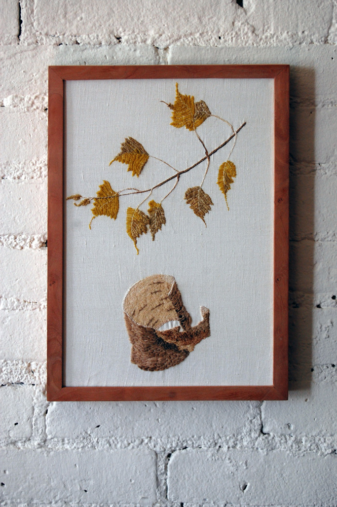 birch botanical embroidery