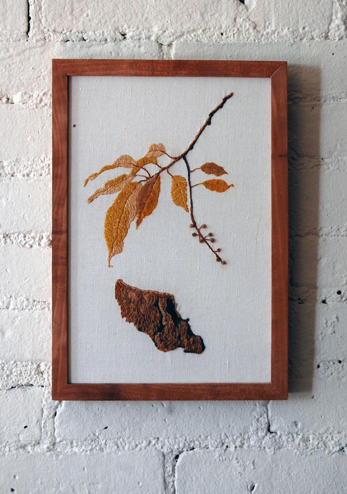 cherry botanical embroidery