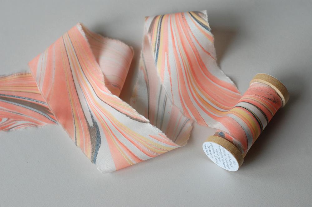 marbled silk ribbon in bright peach