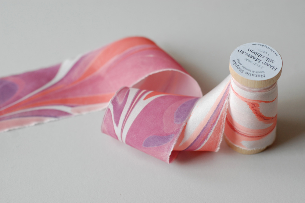 marbled silk ribbon in rich pinks