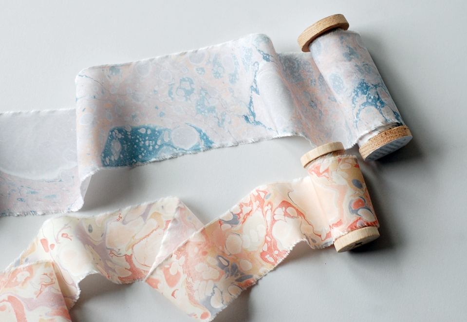 marbled silk ribbons