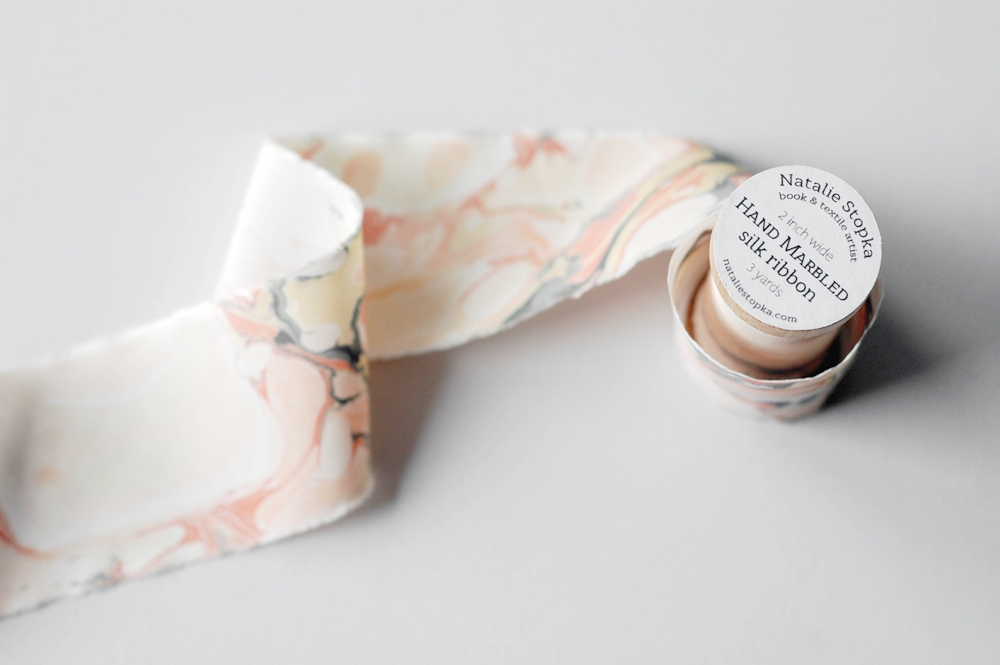ballet pink marbled silk ribbon