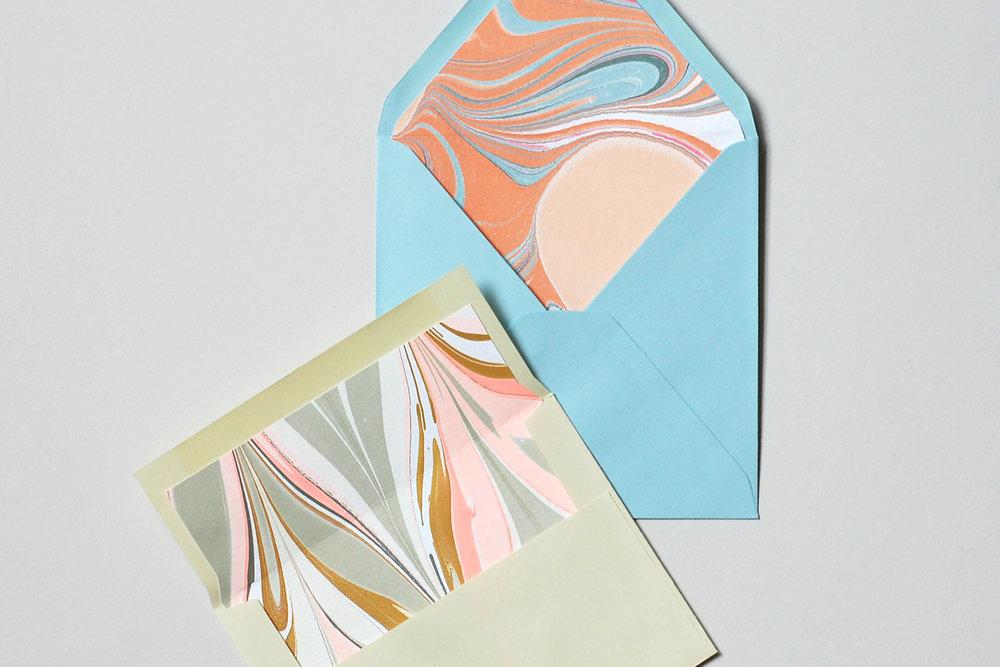 custom marbled envelope liners by natalie stopka