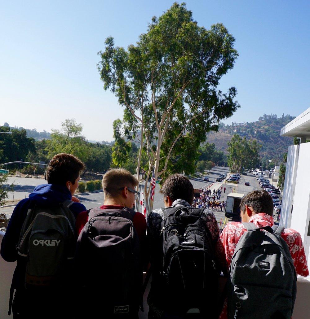 students peering down