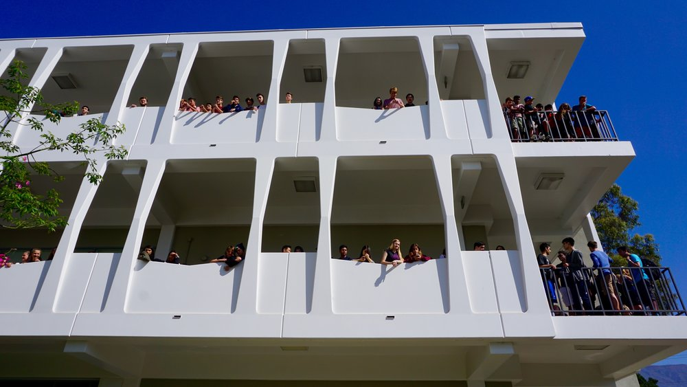 students on the second and third floor