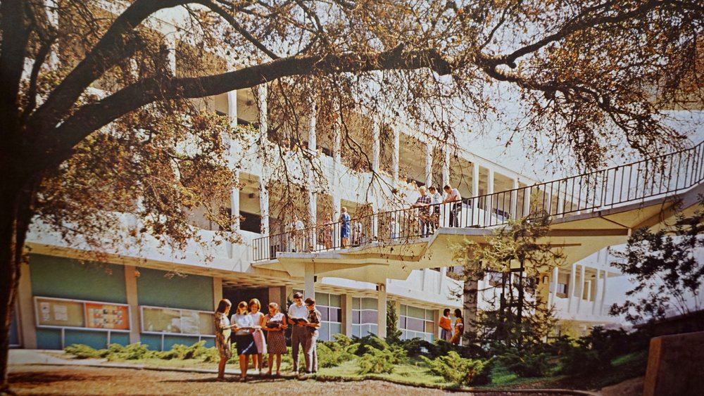 THE PHOTO ABOVE OFFERS A GLIMPSE OF CAMPUS LIFE AT LCHS, DURING ITS FIRST FEW YEARS OF OPERATION. IT WAS ARCHIVED BY THE 1967 OMEGA YEARBOOK.