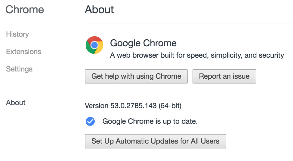 Google Chrome about settings.