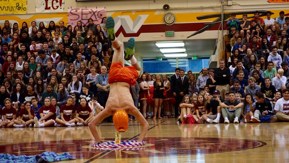 Handstand by student