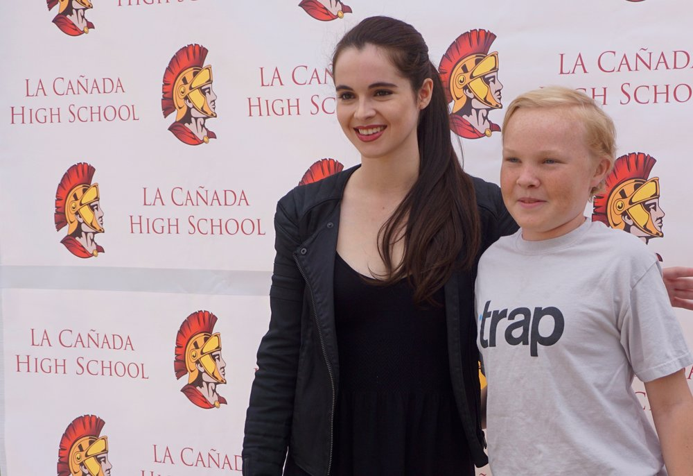 Vanessa poses with another student