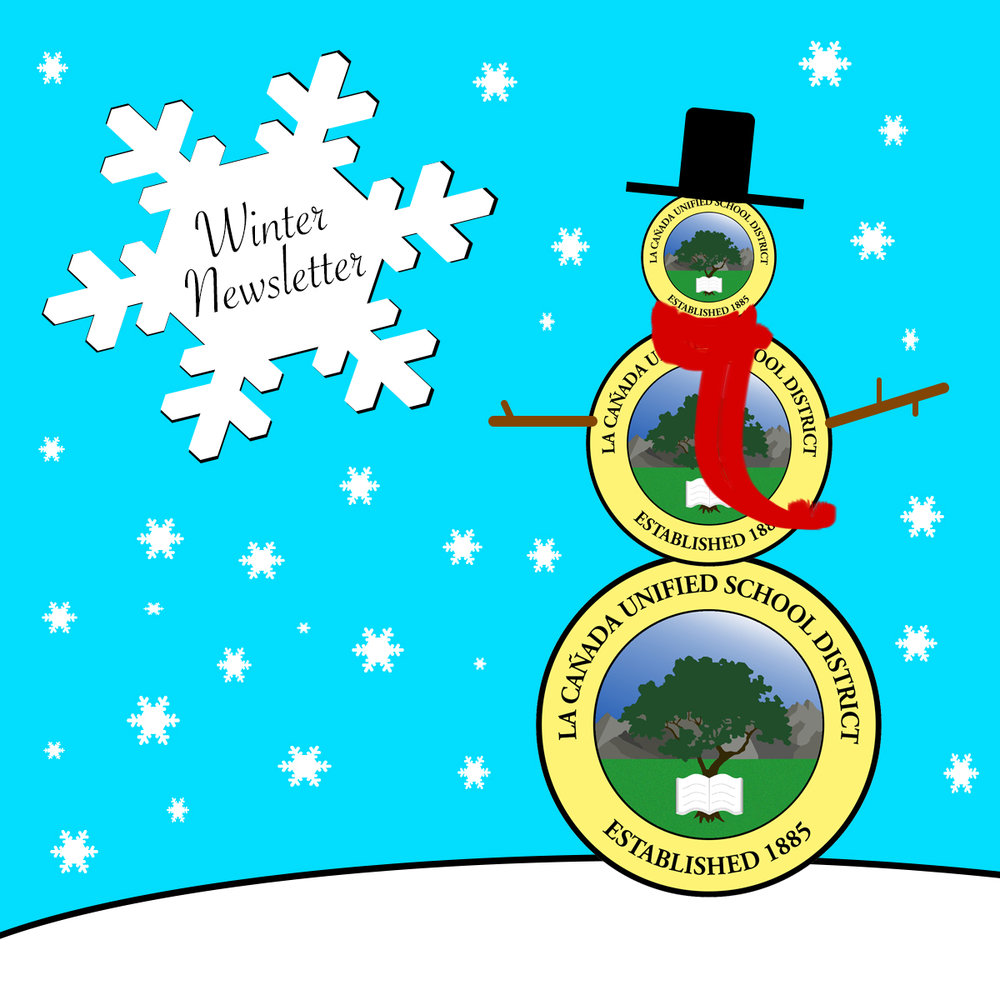 LCUSD Winter Newsletter -  LCUSD district logos stacked to look like  snowman.