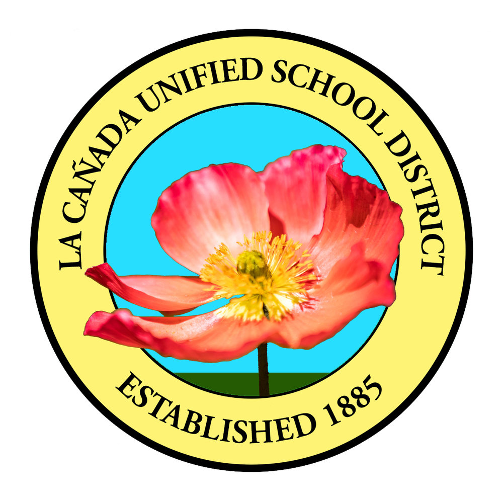 LCUSD Spring Newsletter logo (classic LCUSD logo with a flower instead of tree)