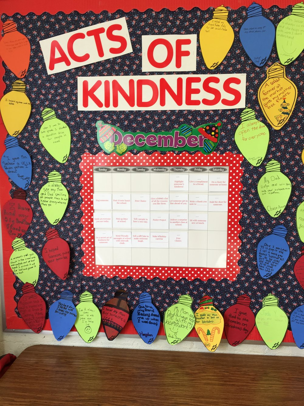 Acts of kindness December calendar.