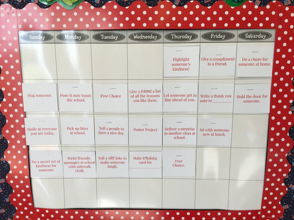 Acts of kindness calendar.