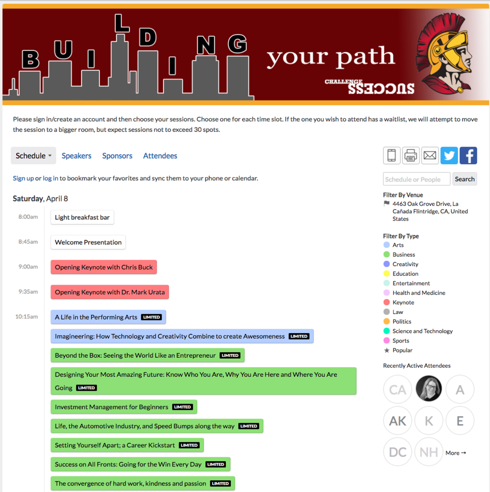 Screenshot of Sched Event: Building Your Path; links to Sched webpage